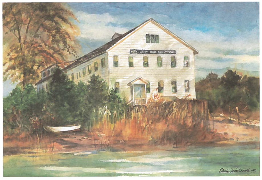 This watercolor depicts the Twenty-Third Publications headquarters in Mystic, CT.   The historic building was built in 1887 by local shipbuilders.
