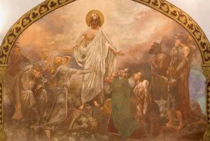 BANSKA BELA, SLOVAKIA: The fresco of Christ healing in St. John the Evangelist church by Jan Antal (1905)