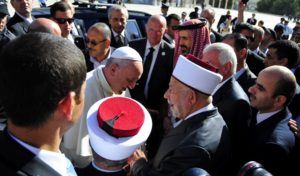 Pope Francis visiting the Temple Mount and meeting the Muslim clerics and Catholic cardinals. May 26, 2014.