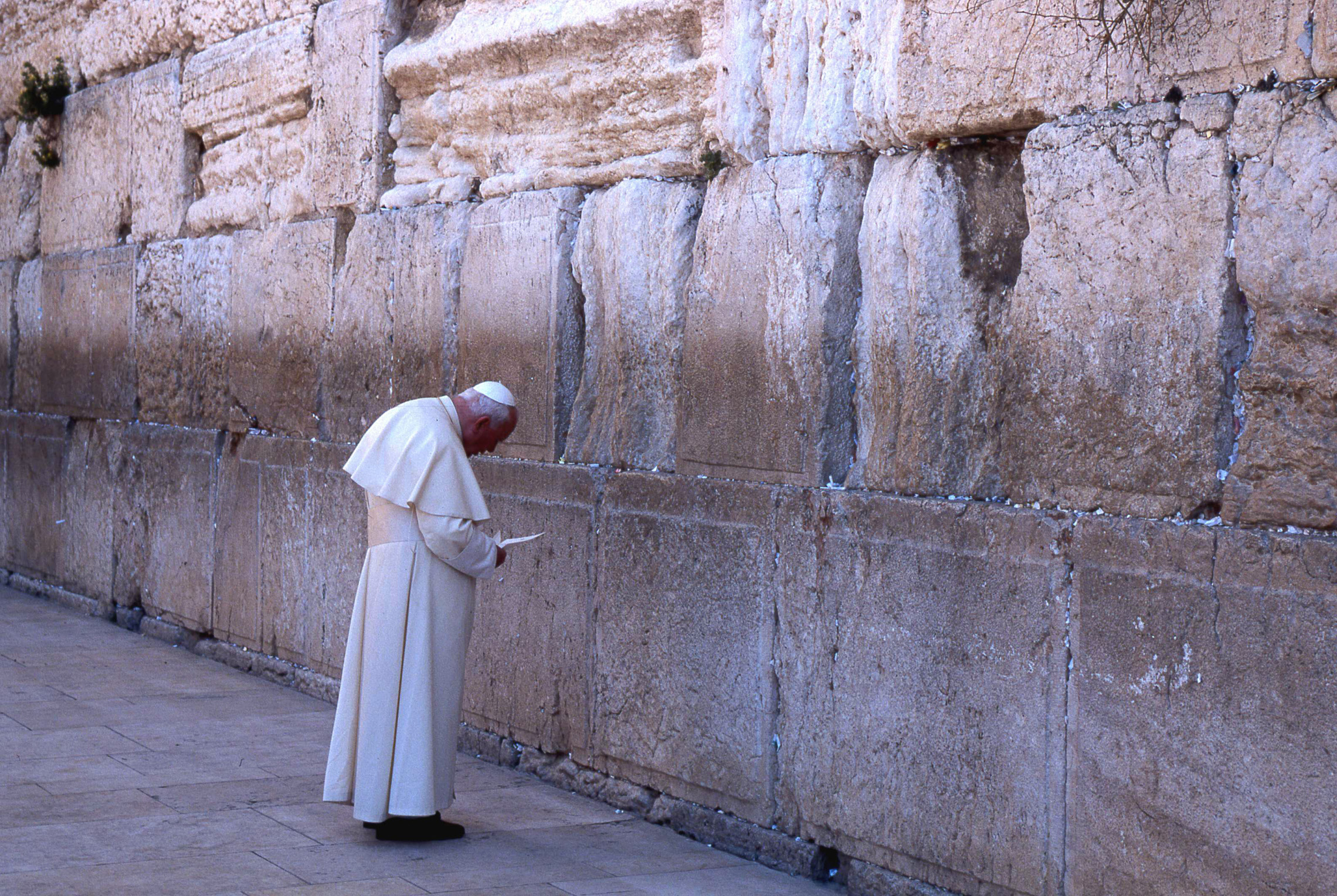 March 26, 2000: Pope St. John Paul the Great at the Western wall, Jerusalem, Israel.