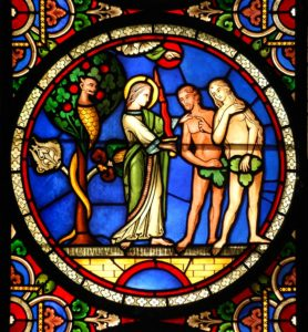 Ely Cathedral, UK, Stained glass window depicting Adam and Eve