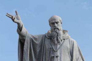 The statue of St. Benedict of Nursia (Norcia, Italy)