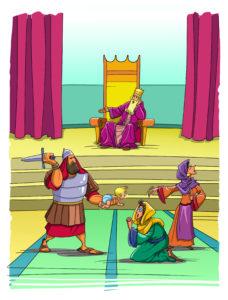 King Solomon judges with wisdom (1 Kings 3:16-28)